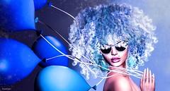 Hair Fair 2017 Photo Contest (scarlettrose.karsin) Tags: hairfair2017 analogdog secondlife avatar bighair catwa maitreya balloons sunglasses blue bento sl hairfair2017competition wildhair