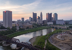 Morning Over Columbus (Explored) (player_pleasure) Tags: inspire1pro drone downtown dji columbus ohio outdoors ariel cityscape hdr morning sunrise summer skyline skyscraper sciotariver railroadtracks