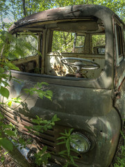 Minivan in green (Brian Rome Photography) Tags: urbex urbanexploration mcleans old rusty crusty decay outdoor wreckers lost derelict forgotten