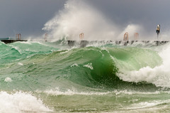 Elberta Chop (Aaron Springer) Tags: michigan northernmichigan lakemichigan thegreatlakes elberta breakwater wave breakingwave storm pier throwring weather water outdoor nature seascape waterscape