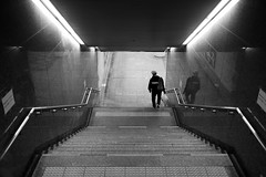 Descending (maekke) Tags: underground urban subway publictransport reflection streetphotography kyoto japan fujifilm x100t bw noiretblanc architecture symmetry pointofview pov 35mm 2017 travelling tourist