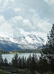 Rainy Day at June Lake, CA 5-15-17 (inkknife_2000 (8 million views +)) Tags: mammothca junelake springsnowstorm mountainswithsnow sierranevadarange freshsnowonground waterreflection usa landscape snow dgraham photo california newsnow morningsnow forest iceonlake trees pines firs waterreflections springstorm carsonpeak skyandclouds moody