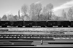 Victory and rails (MarxschisM) Tags: latvia bw riga rail railroad wagons