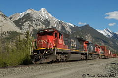 Natural Backdrop (Trevor Sokolan) Tags: canadian canada cn cnr canadiannational henryhouse mountain mountains edsonsub ge generalelectric c408 q116 intermodal stack trains train trainspotting tracks alberta ab railway railroad railfan rail railfanning park