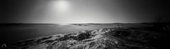 In a light breeze (ShimmeringGrains) Tags: monochrome shimmeringgrains kodaktmaxdeveloper blackandwhite zeroimage618 scannad mediumformat kodaktmx100 kodaktmx bw svartvitt kodaktmaxdev14 120film 6x18 mellanformat archipelago norrbodafishingharbour norrbodafiskehamn panoramic pinhole ©marieahlén pinholephotography coastal panoramicpinhole graso film scanned zeroimage analog gräsö landscape water sea breeze epsonv750pro z618001 zero618