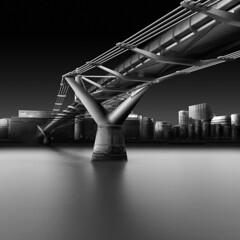 Millenial (s.f.p.) Tags: fine art long exposure architectural architecture millenium bridge thames river black white joel tjintjelaar julia gospodarou water futuristic modern london england uk europe envisionography