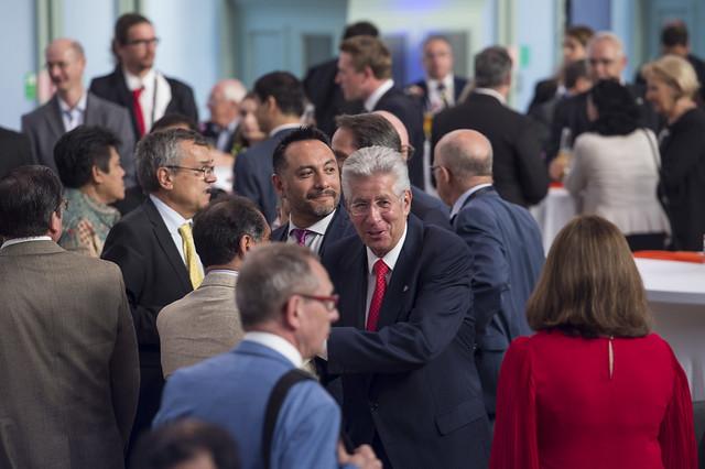 Gerardo Ruíz Espárza greeting guests