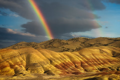 Prismatic Display (Maddog Murph) Tags: rainbow painted hills oregon bend travel storm clouds sunset golden hour cloudy fields hill sky skies gold yellow
