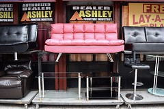 Pink Leatherette (-»james•stave«-) Tags: newyork nyc brooklyn fortgreene furniture sofa couch leather modern standout color pink pop bubblegum chic buyme words letters text nikon d5300