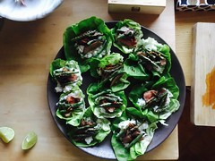 (Dana L. Brown) Tags: butter lettuce shiso mint cilantro sushi rice ponzu charred green beans sirloin birds eye chile