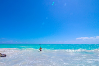 Hanging on the blue beach of Tulum Mexico.