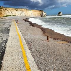 Line (Hilary Causer) Tags: seascape coastline britishcoastline sea yellow line freshwaterbay isleofwight