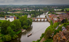Watching over Worcester. (Ian Emerson) Tags: worcester severn river high sightseeing narrowboat bridges buildings architecture cathedral rooftops