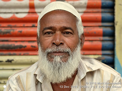 2016-12f Amiable Moslems (02) (Matt Hahnewald) Tags: psychological primelens street portrait cultural character fullbeard taqiyah prayercap male posing authentic smiling soulful eyes traditional matthahnewaldphotography face facingtheworld elderly horizontal head hyderabad india indian islam muslim muslimbeard nikond3100 outdoor cap telangana 50mm expression headshot nikkorafs50mmf18g clarity fullfaceview 1200x900pixels resized colour person 4x3ratio closeup consensual lookingatcamera