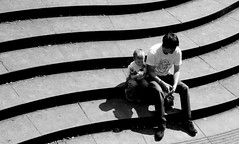 icecream_with_dad (pjamesmain) Tags: child father family sitting riverside love happiness yorkshire hebden bridge waterside river