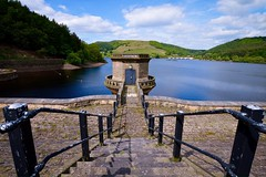 Reservoir Tower (rustyruth1959) Tags: nikon nikond3200 sigma1020mm derbyshire ladybower ladybowerreservoir ladybowerdam reservoir dam reservoirtower tower steps railings water outlet outdoor viaduct wall reservoirwall damwall stone hills scenery trees rope door peelingpaint ladybowerreservoirtower green blue ripples sky clouds shadows alamy floats