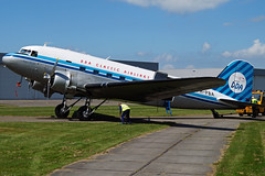 PH-PBA Douglas DC-3 Dakota c/n 13439 at Lelystad Airport in front of its homebase hangar (janencherry) Tags: dda ddaclassicairlines dutchdakotaassociation