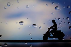 On a rainy day [Silhouette-Macro Mondays] (Marcello-dell'Aquila) Tags: vespa pioggia rain macromondays silhouette