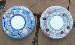 Custom mosaic mirrors (Black Cat Bazaar) Tags: mosaic mosaicked mirror wallplaque sarahcampbell art craft tile glass glowinthedark shells ceramic custom purple pink featurecolors sisters artist commission