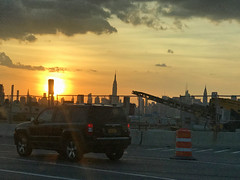 Driving in a New York Sunset (soniaadammurray - Off) Tags: iphone sunset city sky clouds driving newyork usa quartasunset landscape