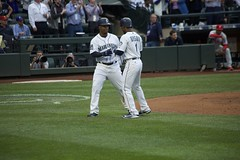 Jean Segura and Jarrod Dyson (hj_west) Tags: baseball philadelphiaphillies seattlemariners safecofield mlb interleague stadium night sports