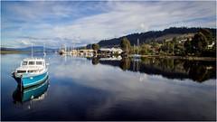 Huon River Tranquility (Trains In Tasmania) Tags: australia tasmania huonriver huonvalley boat yachts reflection reflections river hills scenery tasmanianscenery sky djiphantom3standard dji phantom3standard drone aerial trainsintasmania stevebromley franklin