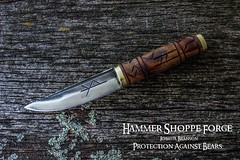 Protection against Bears Norse Knife (HammerShoppeForge) Tags: viking norse scandinavian celtic hunting survival bushcraft bear protection rune joshua branson hammer shoppe forge hand forged anvil blacksmith bladesmith craft skinner blade knife dagger camp camping hiking