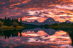 Colorful sunset at Snake River Overlook in Grand Teton National Park, WY (Daniel Viñe fotografia) Tags: grand teton tetons park national wyoming river snake sunset jackson landscape blue hole mountain sky overlook bend oxbow water reflection forest clouds tranquil scenery lake rocky peaks sunrise mountains