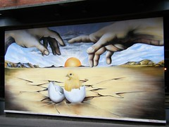 Manchester street art (rossendale2016) Tags: yellow white yolk cracked out hatching hatched chicken first came which shell egg art street manchester