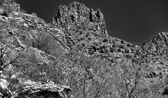 A Different View and Look to Thimble Peak (Black & White, Sabino Canyon) (thor_mark ) Tags: nikond800e day2 lookingse sabinocanyon coronadonationalforest blackwhite silverefexpro2 sabinocanyonrecreationarea santacatalinamountains capturenx2edited colorefexpro desert desertlandscape sonorandesert cactusacrossdesertlandscape desertplantlife outside nature sunny blueskies landscape mountains mountainsindistance mountainsoffindistance mountainsides rideintosabinocanyon intermountainwest southwestbasinsandranges southeastarizonaranges huachucaarea thimblepeak hillsideofrocksandboulders mountainside jaggedpeaks project365 arizona unitedstates