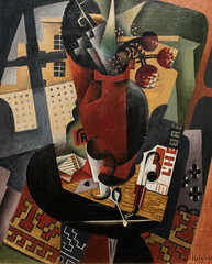 Jean Metzinger, Table by a Window, 1917, Oil on canvas, Met (Sharon Mollerus) Tags: lheure themetropolitanmuseumofart absinthespoon cubism glass playingcard stilllife vasewithflowers newyork unitedstates us