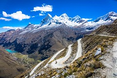An amazing perspective of Huascarán mountain, the Portachuelo pass and the Llanganuco Lakes with Amanda on the road.