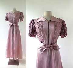 1930s lavender satin gown with smocking at sleeves and bodice (Small Earth Vintage) Tags: smallearthvintage vintageclothing vintagefashion gown dress 1930s 30s satin lavender lilac smocked smocking