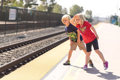 The Train is COMING!!! (2ToneEng) Tags: twins amtrak train traintracks waiting iseeit kid kids waitingforthetrain onthewaytothefair delmarfair sandiegocountyfair looking excited happy canon 5dmarkiv 100mm