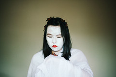 258/365 second life (Emily Moy Photography) Tags: white portrait conceptual conceptualportrait selfportrait cinematic butterflies orange face whiteface rebirth secondlife heaven canon asian people self mood emotion feeling story 365 365project emily moy emilymoyphotography