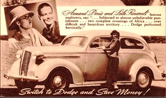 1937 Dodge 2-Door Sedan with Armand Denis and Leila Roosevelt (aldenjewell) Tags: 1937 dodge 2door sedan armand denis leila roosevelt explorers postcard