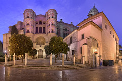 Panorama of Malaga Cathedral in the Morning, Malaga, Andalusia, Spain (ansharphoto) Tags: ancient andalucia andalusia architecture belfry blue building cathedral catholic church city cityscape dawn decorative europe european exterior facade famous garden gate green historic historical illuminated landmark lights malaga mandarin marble mediterranean morning night old orange religion religious sky skyline spain spanish stonework tourism tower town townscape travel tree twilight urban