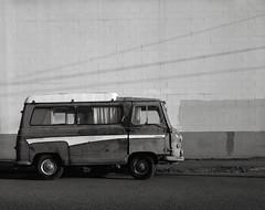 Morris, Portland (austin granger) Tags: morris portland oregon j4 dormobile camper van classic design wall street sidewalk weathered time 1964 memory mind brick largeformat film chamonix