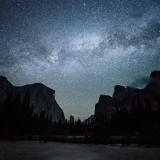 new moon. flooded merced river. valley view. yosemite. california.