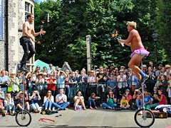 Winchester Hat Fair 2017 - Streetcomedy (Kay Bea Chisholm) Tags: pinktutu balance flamingtorches garaghtythom unicycles juggling comedy streettheatre 20179 hatfair winchester streetcomedy