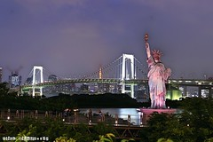 City Night (IJDGAF7902) Tags: japan statueofliberty tokyo architecture architectural urban night bridge rainbowbridge tower asia city coast cityview skyline seaside outdoor port harbour harbor water wharf travel trip world wallpaper beautiful beauty long exposed exposure canon downtown holiday vacation odaiba park