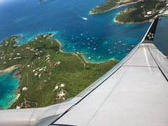 Leaving Paradise (Fret Spider) Tags: plane flight vacation wing island tropic tropical water beach boat blue sea caribbean shore airplane usvi bvi paradise travel shoreline jet indigo azure iphone