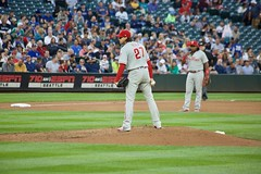 Aaron Nola on the mound in Seattle (hj_west) Tags: baseball philadelphiaphillies seattlemariners safecofield mlb interleague stadium night sports
