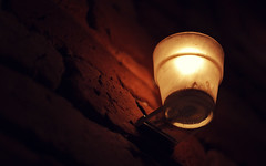Have you ever tried to hang up the light? (akigabo) Tags: montreal light akigabo abstract shadows minimal t5i canon 700d red yellow wall interior bricks texture candle contrast 50mm