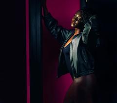 Pink Leather (rubenb.hardwick) Tags: fashion pink ebony dark swimsuit leotard one piece curls booty fitness