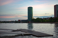 "The ""Gerippte"" building at Sunset (kchest) Tags: sunset frankfurt mainufer"