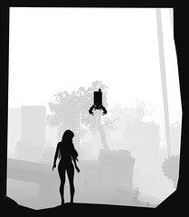 (ConnecteD\_) Tags: nierautomata platinumgames squareenix screenshot silhouette border monochrome blackandwhite outdoor