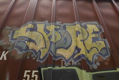 SHORE (TheGraffitiHunters) Tags: graffiti graff spray paint street art colorful freight train tracks benching benched shore floater boxcar ribbet