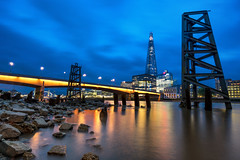 The Third Triangle (JH Images.co.uk) Tags: hdr dri night bluehour sky clouds shard london bridge low tide architecture rocks thames illuminated pillar towerbridge city