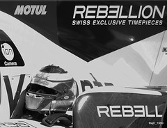 The people to speak to about a watch (ajh_1990) Tags: le mans 24h 24 circuit de la sarthe black white monochrome rebellion exclusive swiss timepieces watch watches motul ion cameras michel vaillante helmet pre race car